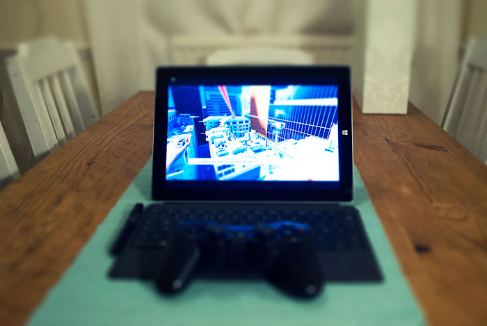 Surface 3 playing Mirrors Edge
