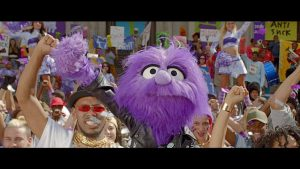 Exclusive stills from ThreeÕs new advertising campaign, show its star Jackson, a purple puppet, making things right for the people of Britain. The mobile networkÕs 30 second ad, airs for the first time this Friday 5th June at 9.30pm on Channel 5.